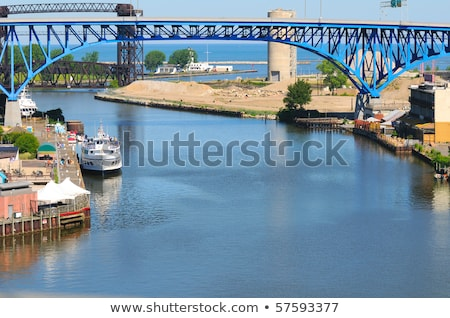Boat on Cuyahoga River Stock photo © benkrut