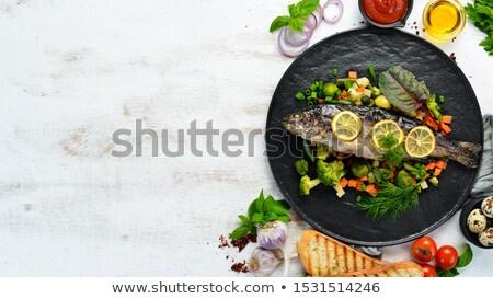 форель · овощей · избирательный · подход · Focus · глаза - Сток-фото © inganielsen
