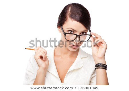 Portrait of a strict woman in glasses Stock photo © vankad