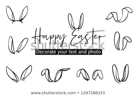 черно белые Пасху черный кролик первый Сток-фото © manaemedia