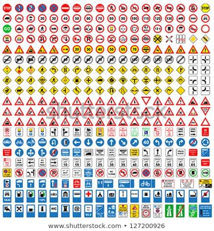 Mavi yön trafik işareti toplama vektör poster Stok fotoğraf © krabata