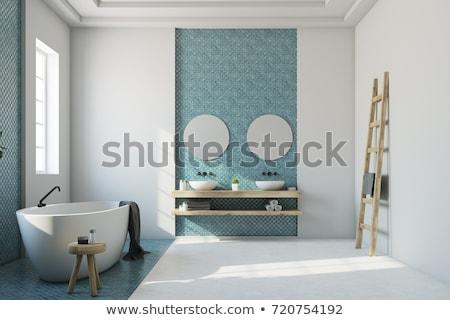 Blue Tiles in Bathroom Stock photo © jamdesign
