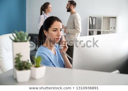 Portret medische receptionist werk achtergrond triest Stockfoto © photography33