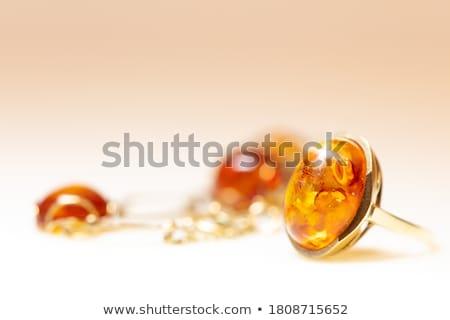 Kehribar takı kolye makro kahverengi Stok fotoğraf © cobaltstock