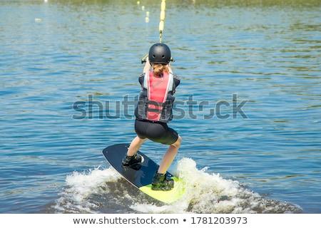 genç · su · kayakçılık · deniz · renk · sprey - stok fotoğraf © iofoto