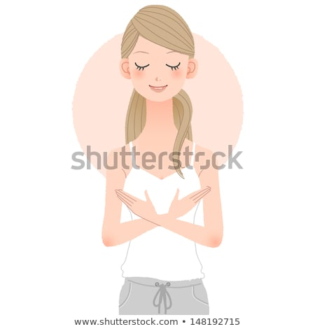 Young girl putting hands above breast Stock photo © norwayblue