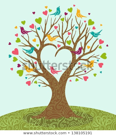 heart tree with birds vector stock photo © beaubelle