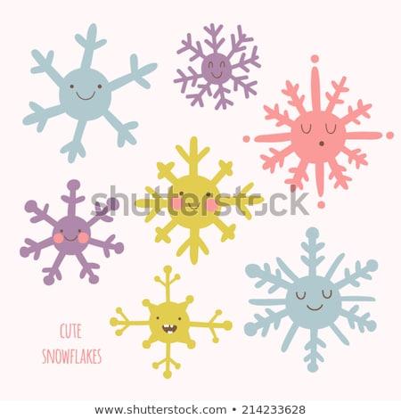 Cute sneeuwvlok natuur sneeuw Blauw kleur Stockfoto © clairev
