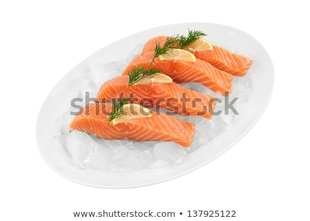 Fillet of salmon in ice cube Stock photo © Givaga