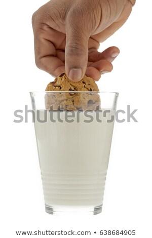 クッキー · ミルク · 手 · チョコレート · チップ · ガラス - ストックフォト © icemanj