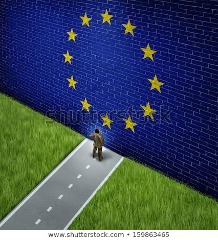 флаг · Европейское · сообщество · Гранж · кадр · синий · звездой - Сток-фото © lightsource