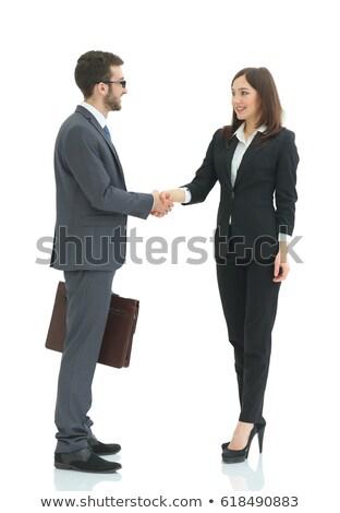 Kézfogás két személy férfi nő izolált fehér Stock fotó © oly5
