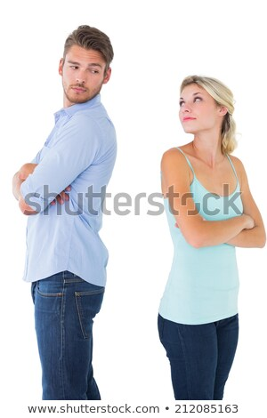Сток-фото: Young Attractive Couple Conflict Angry Problem Isolated
