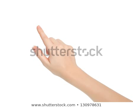 Hand pointing, touching or pressing isolated on white. Caucasian Stock photo © oly5
