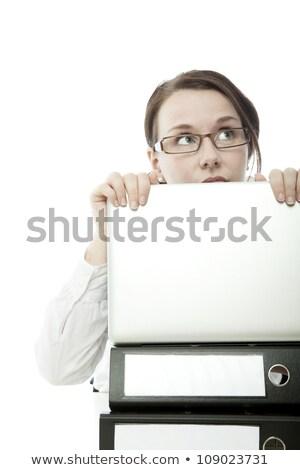 Stock fotó: Fiatal · barna · hajú · üzletasszony · szemüveg · irha · mögött