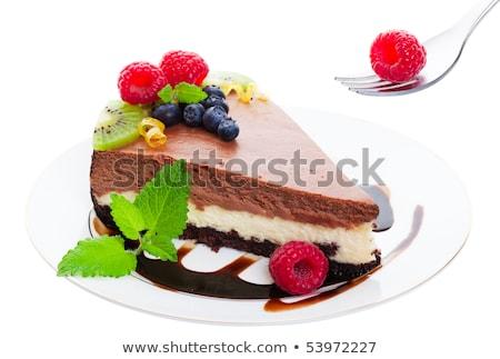 слой шоколадом чизкейк Нью-Йорк стиль служивший Сток-фото © songbird