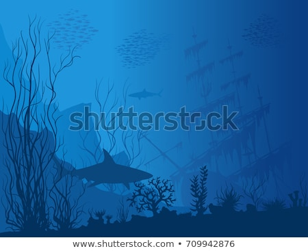 Stok fotoğraf: Underwater World Wallpaper With Tropical Fish Vector Illustration