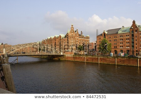 brick lined red houses at the speicherstadt hamburg stock photo © meinzahn