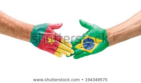Aperto de mão Camarões Brasil mão reunião esportes Foto stock © Zerbor