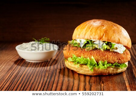 Stock fotó: Hamburger · arany · csirkemell · közelkép · ízletes · ropogós