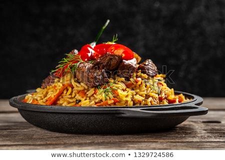 hagyományos · távolkeleti · hús · bors · sárgarépa · zöldség - stock fotó © yelenayemchuk