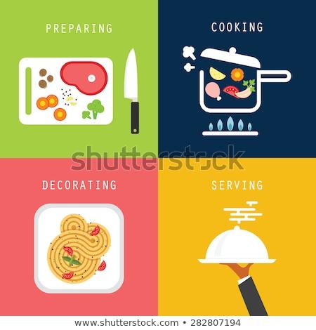 cuaderno · recetas · pasta · especias · mesa · de · madera · libro - foto stock © stevanovicigor