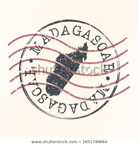 Postabélyeg ikon Madagaszkár izolált fehér felirat Stock fotó © MikhailMishchenko