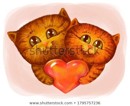 ヴィンテージ 猫 シルエット 背面図 図示した オーガニック ストックフォト © Soleil