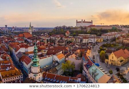 Bratislava pôr do sol Eslováquia panorâmico ver castelo Foto stock © Kayco