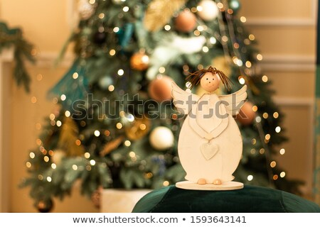 white golden thinking christmas angel figurine stock photo © Rob_Stark