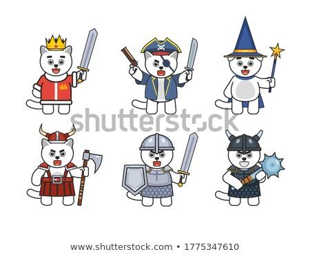 comic cartoon medieval mace Stock photo © lineartestpilot