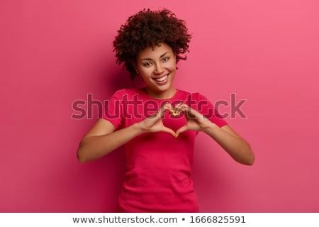 Portré mosolyog derűs boldog nő készít Stock fotó © ichiosea