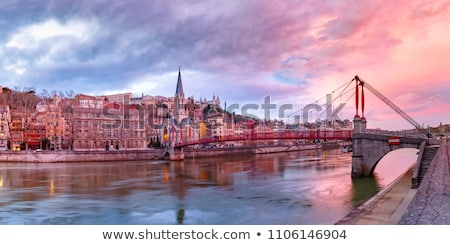 Panorâmico ver Lyon rio noite França Foto stock © vwalakte