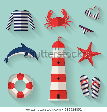 flat striped swimsuit with long shadow stock photo © anna_leni