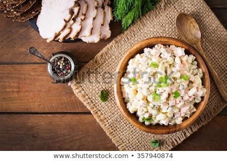 rusztikus · főtt · krumpli · mustár · közelkép · zöldség - stock fotó © zhekos