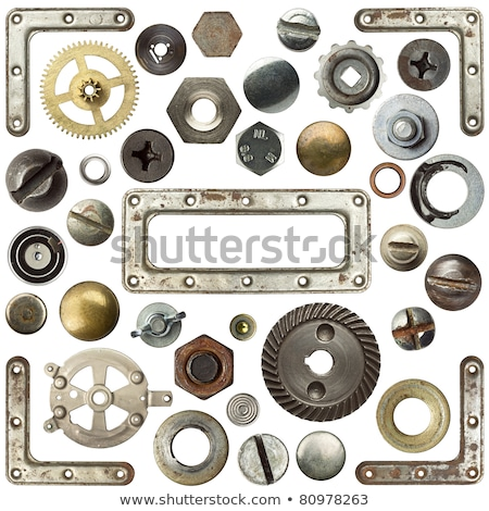 Rusty metal fasteners and  wrench Stock photo © saransk