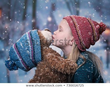 hermosa · niña · osito · de · peluche · gris · mujer · retrato · tener - foto stock © petrmalyshev