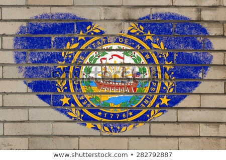 heart shape flag of new hampshire on brick wall Stock photo © vepar5