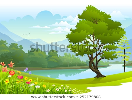 Lake surrounded by green trees Stock photo © Sportactive