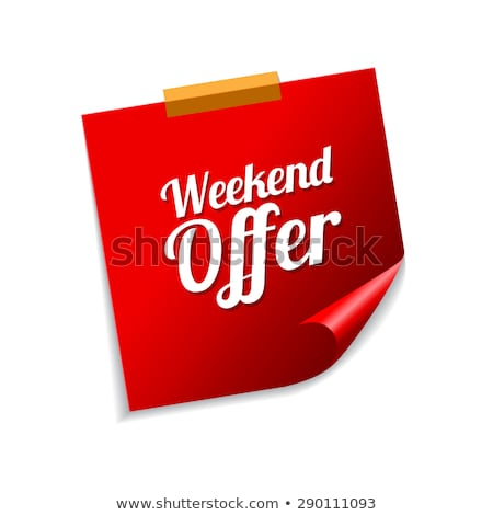 Weekend bieden Rood sticky notes vector icon Stockfoto © rizwanali3d