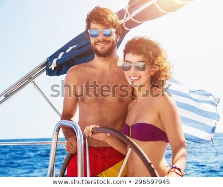happy man on sailboat stock photo © anna_om