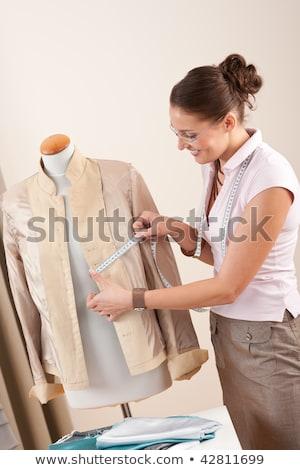 Homme designer veste jeunes mètre à ruban Photo stock © deandrobot