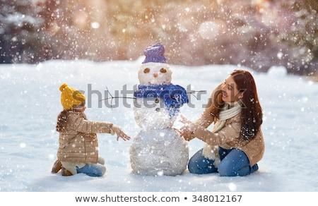 sneeuwpop · paar · illustratie · familie · sneeuw · winter - stockfoto © adrenalina