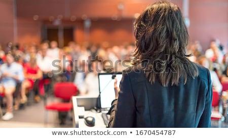 Mujer de negocios presentación seminario proyector Screen aislado Foto stock © Voysla