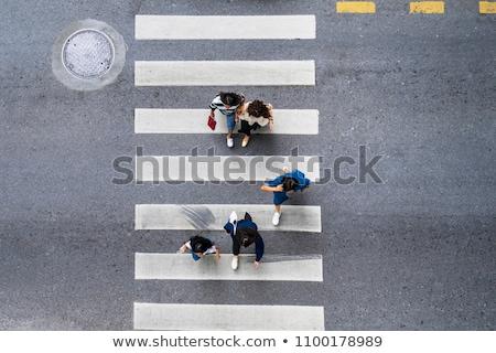 Zebra yaya trafik işareti yol sokak imzalamak Stok fotoğraf © claudiodivizia