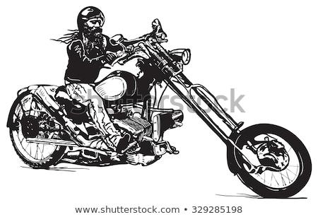 Artistic drawing of a biker upon a motorbike  Stock photo © shawlinmohd