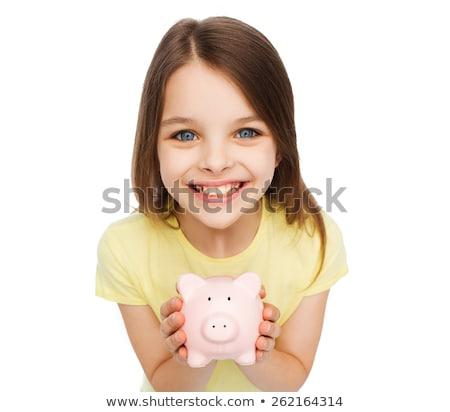 Foto stock: Piggy · bank · quadro · menina · estudante · triste