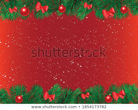 christmas sign snow fir tree branch copy space stock photo © nelosa