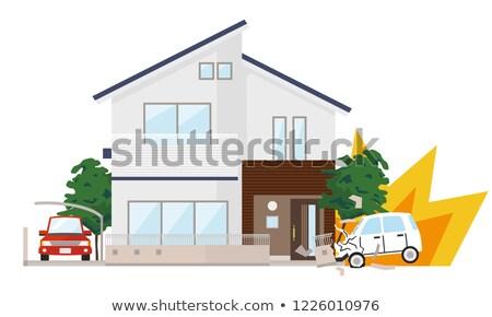 Foto stock: Carro · acidente · automático · parede · casa · propriedade