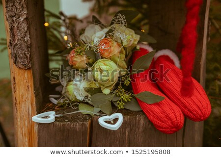 Menyasszonyi ujjatlan kesztyűk kettő fehér ezüst lila Stock fotó © svetography